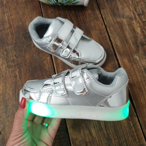 Adidasi Alina argintii cu luminite